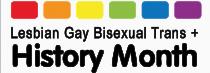 Lesbian Gay Bisexual Trans + History Month Logo